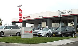 Passenger vehicles in the United States - A typical American car dealership in Fremont, California. Between 2002 and 2003, the number of vehicles in the United States increased by three million.