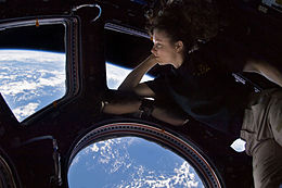 An astronaut reclines on a multi-paned window, through which can be seen the Earth and the blackness of space.