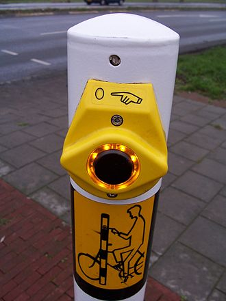 Vandal-resistant switch - This vandal- and weather-resistant switch is used to request a traffic stop signal