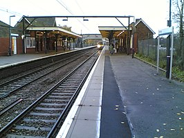 Train arriving at Hockley railway station.jpg