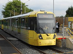 M5000 - Image: Tram 3009 at Abraham Moss (crop)