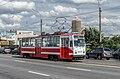 Tram LM-68M on Tuchkov Bridge in SPB.jpg