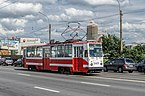 Tram LM-68M on Tuchkov Bridge in SPB.jpg