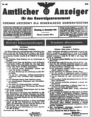 Treblinka extermination camp - Official announcement of the founding of Treblinka I, the forced-labour camp