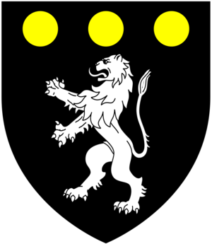 George Treby (politician) - Arms of Treby: Sable, a lion rampant argent in chief three bezants