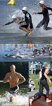 Triathletes competing in the swim component of race. Wetsuits are common but not universal