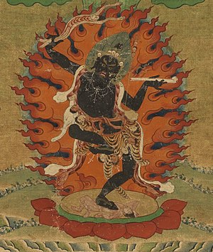 Vajrayogini - Tröma Nagmo, Tibetan Buddhist Kali. Closeup from a painting of Machig Labdron, 19th century.