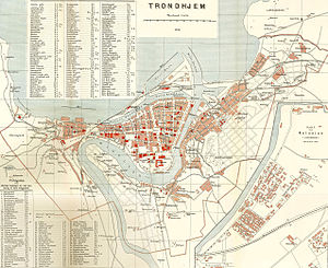 Trondheim - City Map of Trondheim in 1898, Norwegian edition