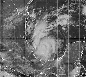 Hurricane Bret - Tropical Storm Bret organizing over the Bay of Campeche