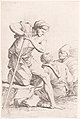 Two men sitting and another man holding a staff kneeling on a rock, from the series 'Figurine' MET DP141385.jpg