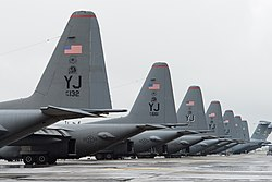US Air Force C-130 Hercules of the 36th Airlift Squadron parked on the Yokota flight-line during 2013.