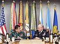 U.S. Army Gen. Martin E. Dempsey, right, chairman of the Joint Chiefs of Staff, meets with Colombian Army Gen. Juan Pablo Rodriguez Barragan, chief of Colombia's Joint Chiefs of Staff, at the Pentagon, Sept 140925-D-HU462-058.jpg