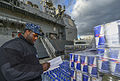 U.S. Navy Ship's Serviceman 2nd Class Jeffery Meade conducts an inventory check on a shipment aboard the guided missile cruiser USS Monterey (CG 61) as the ship is moored in Souda Bay, Greece, for a port visit 131211-N-QL471-157.jpg
