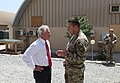U.S. Sen. Bob Corker of Tennessee, left, talks with U.S. Army Command Sgt. Maj. Ledford Stigall, the sergeant major of NATO Special Operations Component Command-Afghanistan (NSOCC-A), at Camp Integrity 130707-N-QV903-013.jpg