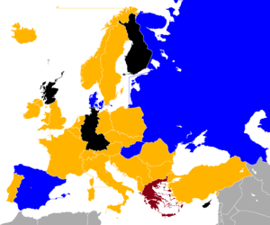 1964 European Nations' Cup qualifying - Image: UEFA Euro 1964 Qualifiers Map