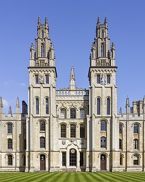 All Souls College, Oxford - The twin towers of Hawksmoor's Quadrangle
