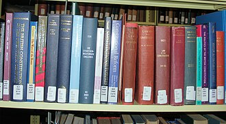 Constitution of the United Kingdom - One of several shelves full of books about the UK constitution at a law library