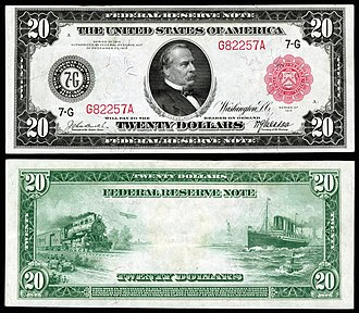 United States twenty-dollar bill - 1914 $20 Federal Reserve Note.