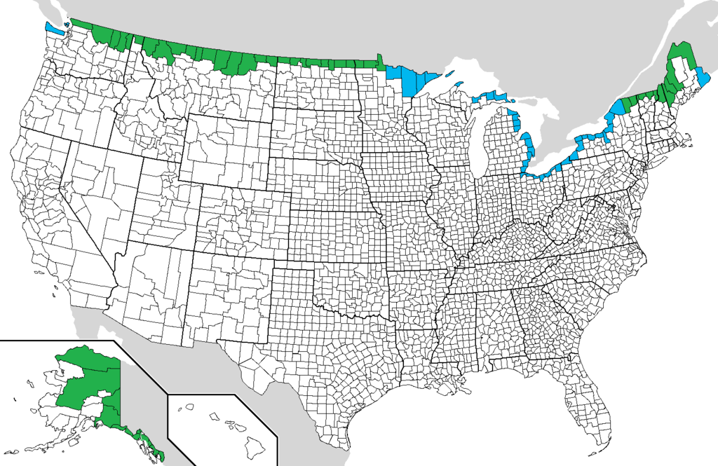 FileUSCanada Border Countiespng Wikimedia Commons - Us canada map