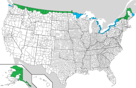 Coloration des comtés des États-Unis frontaliers en vert (frontière terrestre) et bleu (frontière aquatique)