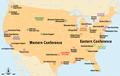 USA - NBA-Conferences und Divisions 2008 (mit Legende in Karte).png