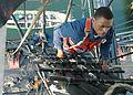 US Navy 040812-N-0335C-002 Seaman Marcus Davis climbs the aft mast aboard USS Constitution.jpg