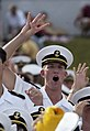 US Navy 040925-N-0962S-012 A U.S. Naval Academy Midshipmen signifies the Navy's first 4-0 start in 25 years.jpg
