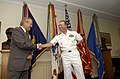 US Navy 050812-F-6911G-004 Secretary of Defense Donald H. Rumsfeld, left, congratulates U.S. Navy Adm. Edmund P. Giambastiani after taking the oath of office as the Vice Chairman of the Joint Chiefs of Staff.jpg