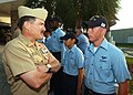 US Navy 050819-N-7781D-016 Master Chief Petty Officer of the Navy Terry Scott speaks to Aviation Structural Mechanic Airman Tyler Scott prior to breakfast at the Naval Air Station Jacksonville galley.jpg