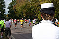 US Navy 051002-N-7163S-003 Lt. Cmdr. Elizabeth Zimmerman of the Twin Cities' Navy Office of Community Outreach (NAVCO), cheers-on runners at the 15-mile mark of the Twin Cities' Marathon.jpg