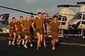 US Navy 060114-N-9866B-020 Marines assigned to the 11th Marine Expeditionary Unit (MEU) run in formation on the flight deck.jpg