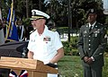 US Navy 070414-N-6357K-004 Cmdr. Jeffrey Beaty, Naval Base Point Loma executive officer, delivers the opening remarks for the Army's 710th Ordnance Company, Explosive Ordnance Disposal (EOD) memorial dedication held at Li.jpg