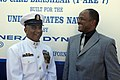 US Navy 080918-N-9818V-412 Master Chief Petty Officer of the Navy (MCPON) Joe R. Campa Jr. speaks with Phillip Brashear, son of Master Chief Carl Brashear, following the christening ceremony for USNS Carl Brashear (T-AKE 7) hel.jpg