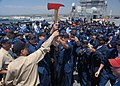 US Navy 090522-N-0515W-089 Sailors from Repair 5 Main hold up the trophy ax after winning the Damage Control Olympics aboard the amphibious assault ship, USS Bonhomme Richard (LHD 6).jpg