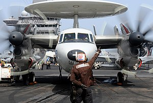 VAW-121 - VAW-121 E-2C starts its engines aboard USS Dwight D. Eisenhower