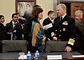 US Navy 110310-N-ZB612-066 Chief of Naval Operations (CNO) Adm. Gary Roughead speaks with Rep. Betty McCollum after appearing before the House Appr.jpg