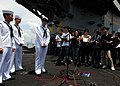 US Navy 110812-N-SB672-250 Sailors speak with Chinese media members in Cantonese aboard the aircraft carrier USS Ronald Reagan (CVN 76).jpg