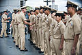 US Navy 110916-N-CZ945-462 Vice Adm. Scott Swift, commander of U.S. 7th Fleet, congratulates chief petty officers.jpg