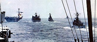 1969 EC-121 shootdown incident - Ships of Task Force 71 underway off Korea in April 1969.
