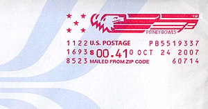 A U.S. postage meter marking made with a Pitne...
