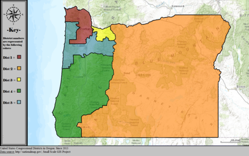 United States Congressional Districts in Oregon, since 2013.tif