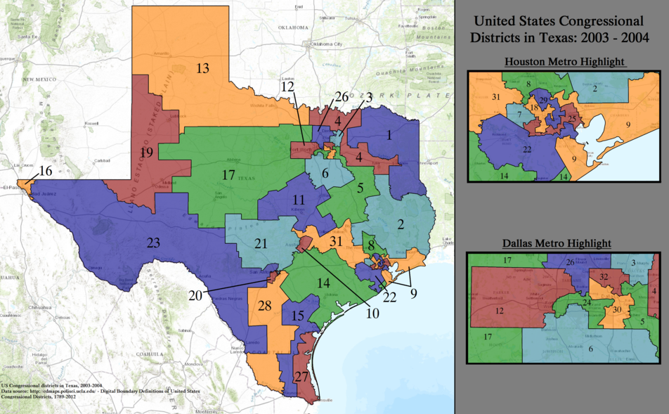 United States Congressional Districts in Texas, 2003–2004.tif