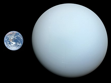 Size comparison of Earth and Uranus Uranus, Earth size comparison 2.jpg