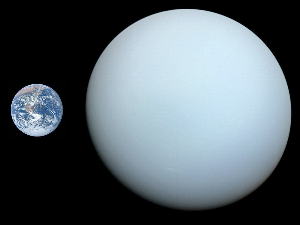 Uranus, Earth size comparison 2