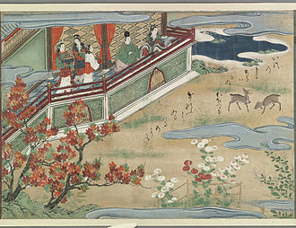 Ryūgū-jō - Urashima and Otohime in the Autumn side of the undersea palace, watching deer. Japanese watercolour from late 16th or early 17th century