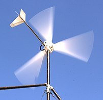 This wind turbine charges a 12 volt battery to...