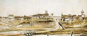 São Paulo em 1821. Aquarela de Arnaud Julien Pallière, representando a Várzea do Carmo.