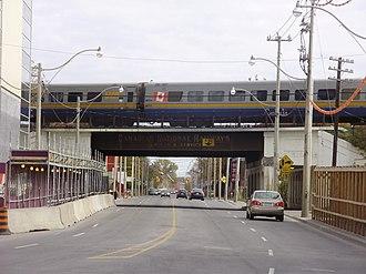 Eastern Avenue (Toronto) - Image: VIA Train Crosses Eastern Avenue