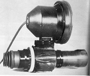 Infrared homing - The Vampir nightscope used a photomultiplier as the sighting system and provided illumination with an IR lamp mounted above the scope.