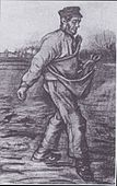 A sower wearing a cap sowing seed. Behind there is a line of bare trees.